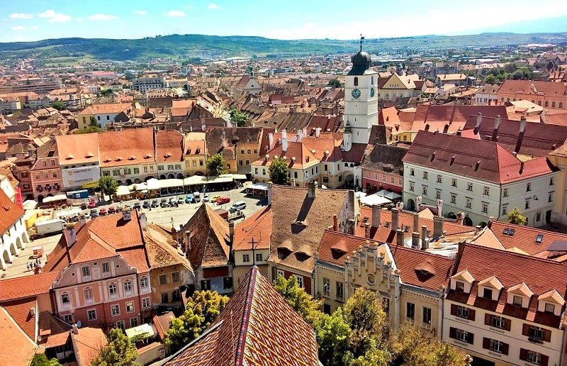 View over Sibiu city centre from the tower of the Lutheran Cathedral